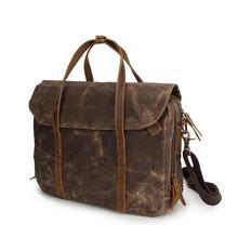 Retro Waterproof Wax Canvas Briefcase for Men High Quality Cowskin Leather Belt Laptop Business Handbag Classic Crossbody Bag
