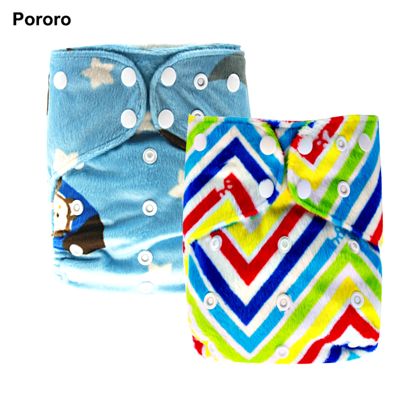PORORO Minky Printed Winter Use Baby Reusable All In One Size Cloth Diapers, Size Adjustable AIO Diaper With Bamboo Bossters
