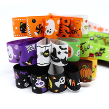25mm Halloween Pattern Grosgrain Ribbons DIY Art Handmade Materials Trim Ribbon 12yards/lot(Randomly mixed) 040054044