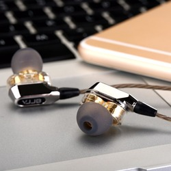 Nowy oryginalny VJJB V1 V1S hifi słuchawki douszne super bas douszne wysokiej jakości dwa kółka Subwoofer Monitor zestaw słuchawkowy z mikrofonem