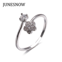 JUNESNOW White Silver plated ring Luck Clover AAA CZ beads Wedding Rings For Women Luxury Engagement fashion jewelry ZY107