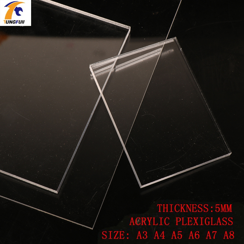 TUNGFULL <font><b>5mm</b></font> Thickness Transparent Acrylic Board Shutter Hardware 6 Size Plate Clay Acrylic For Plexiglass Perspex <font><b>Sheet</b></font> Tools image