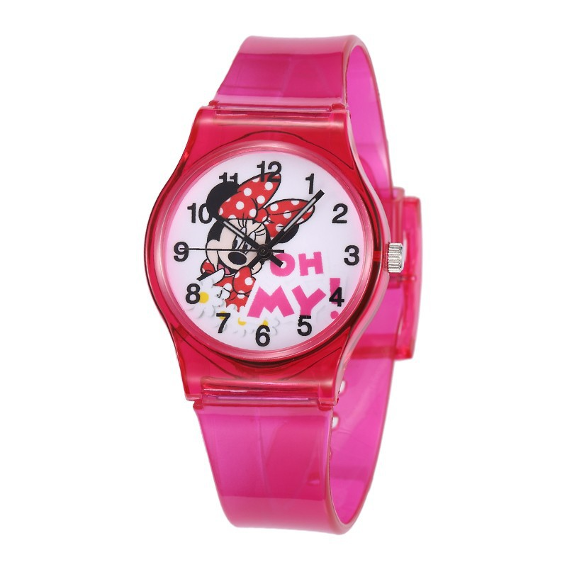 2019 New Cartoon Lovely Mickey Kids Girls Boys Children Students Quartz Wrist Watch Popular Watches Minnie Mouse Clock