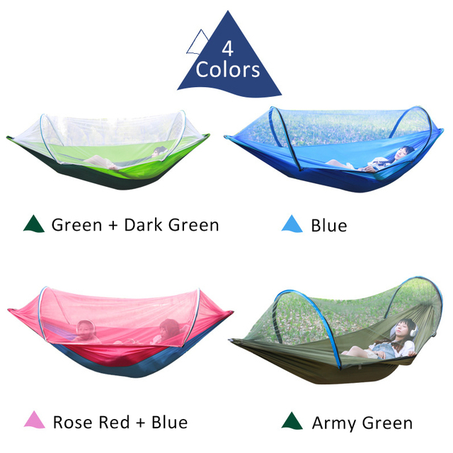 2 Person Portable Outdoor Mosquito Net 260x150cm Parachute Hammock Camping Hanging Sleeping Bed Swing Double Chair Hanging Bed 2