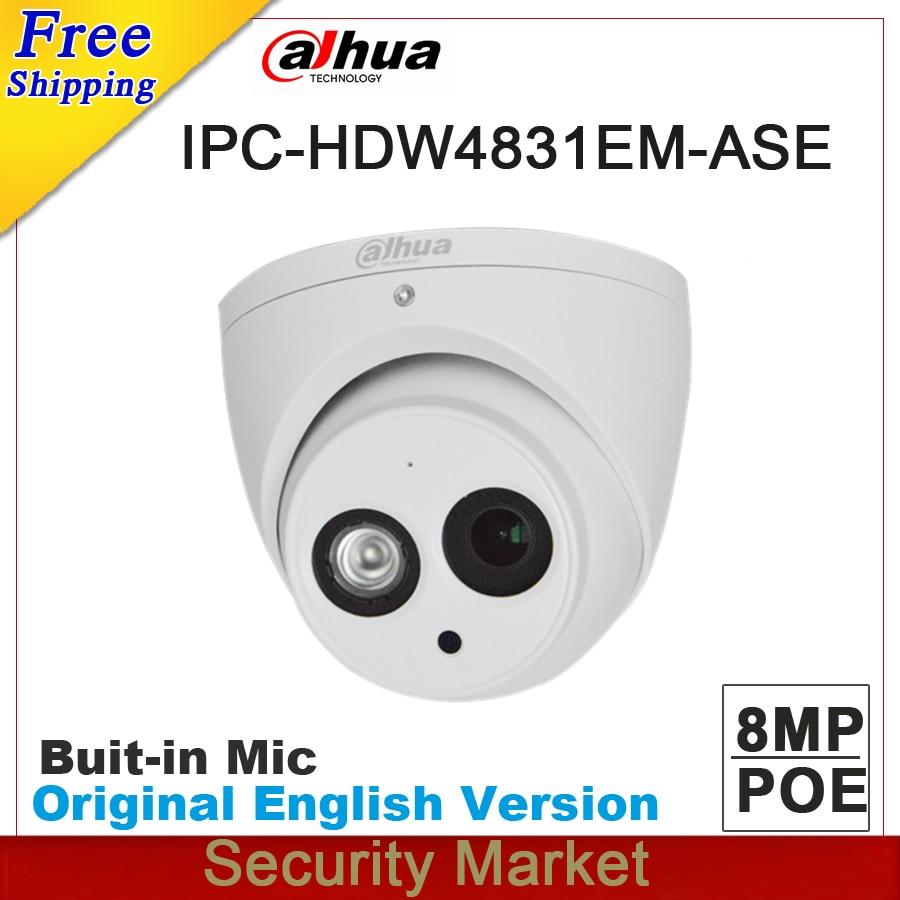 Original dahua English version IPC HDW4831EM ASE 8MP POE IR eyeball network camera CCTV IP camera