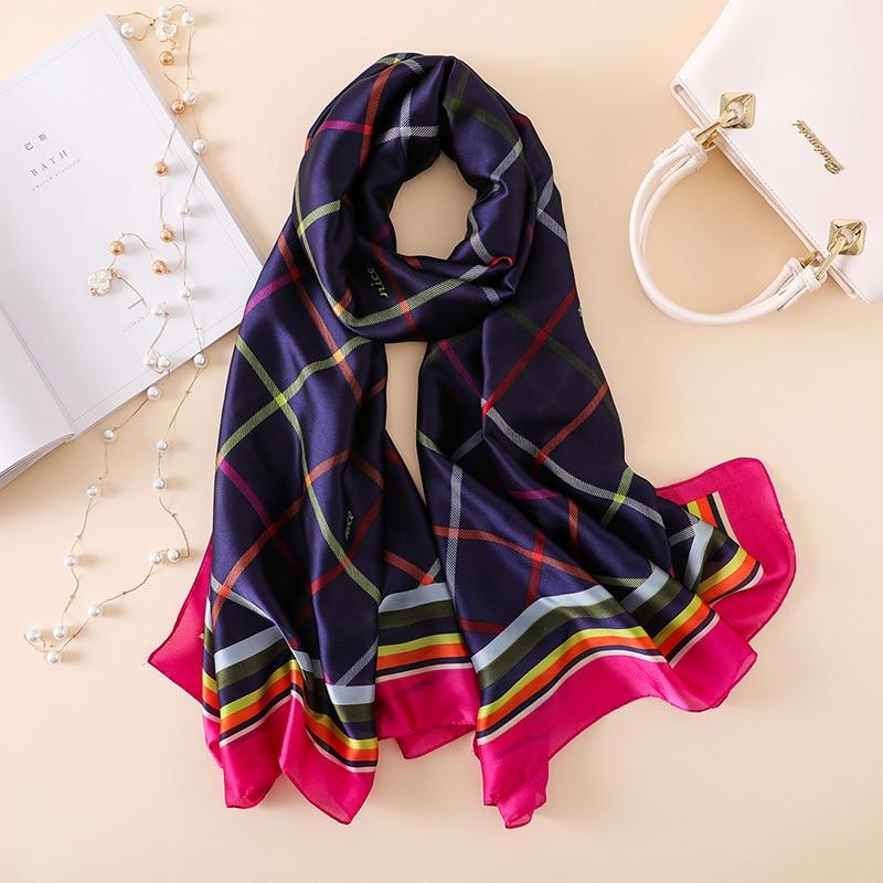REALSISHOW 2019 Fashion Plaid Silk Scarf Luxury Women Brand Scarves for Shawl High Quality Hijab Wrap 180*90CM