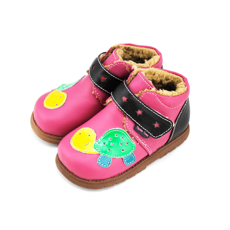 TipsieToes Brand High Quality Turtle Cartoon Sheepskin Kids Children Boots School Shoes For Girls New 2017 Autumn Winter A64101 tipsietoes brand casual sheepskin baby kid toddler shoes moccasins for girls first walkers 2016 autumn spring fashion 63310