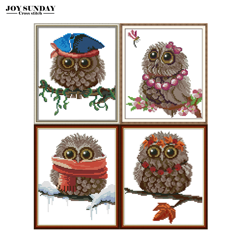 Joy Sunday Embroidery Cross Stitch Sets Owl Animals Patterns 14ct 11ct DMC DIY Hand Needlework Printed Canvas For Cross Stitch