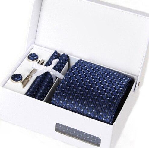 Novo homem mariage entrevista de seda gravata masculina gravata casamento gent kravat deep blue formal do negócio abotoadura lenço no pescoço set empate