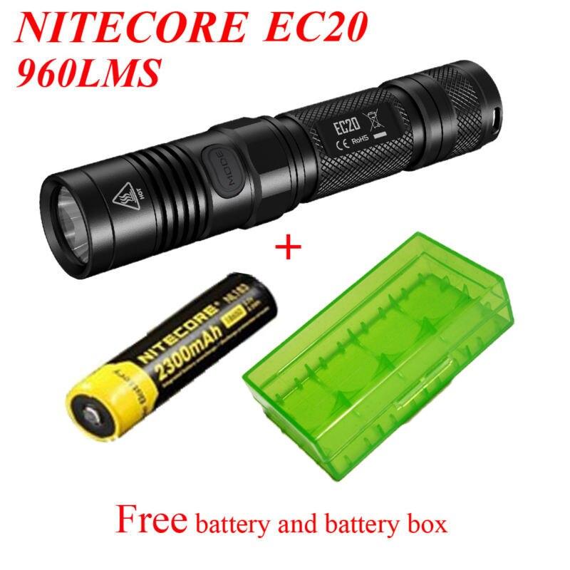 Nitecore EC20 Flashlight Cree XM-L2 T6 LED 960 Lumens 222m Distance Led Torch waterproof+NL183 2300mAh Battery+battery box цены