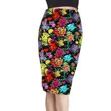 Summer Women's Pencil Skirt High Waist Floral Printing Midi Skirt Femininas S-XL Geometric Retro Skirts