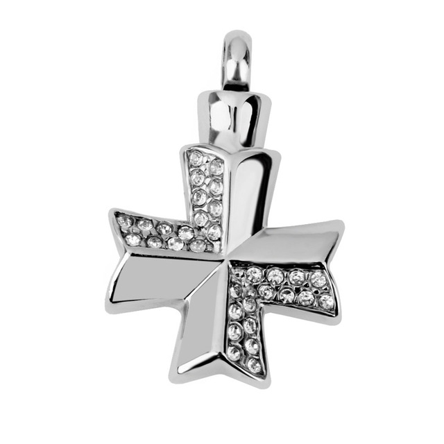 Rhinestone Decorated Cross Shaped Memorial Pendant