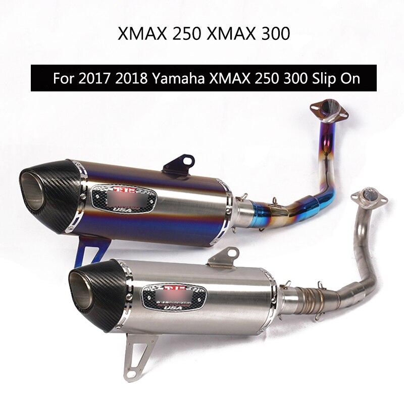 (Système d'échappement complet) pour 2017 2018 Yamaha XMAX 250 XMAX 300 tuyau d'échappement sans lacet 51mm moto en-tête milieu d'échappement