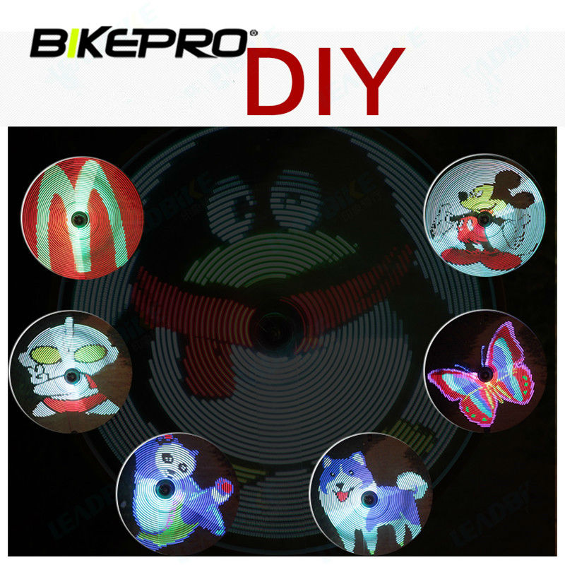 ФОТО LED Wheel Tire Spoke Bike Light Programmable DIY Cool Smart Bicycle Lamps Night Cycling Waterproof Light Colorful BikeTorches