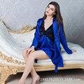 Осень новый шелковый имитация шелковое платье дамы пижамы шелковые пижамы два комплекта
