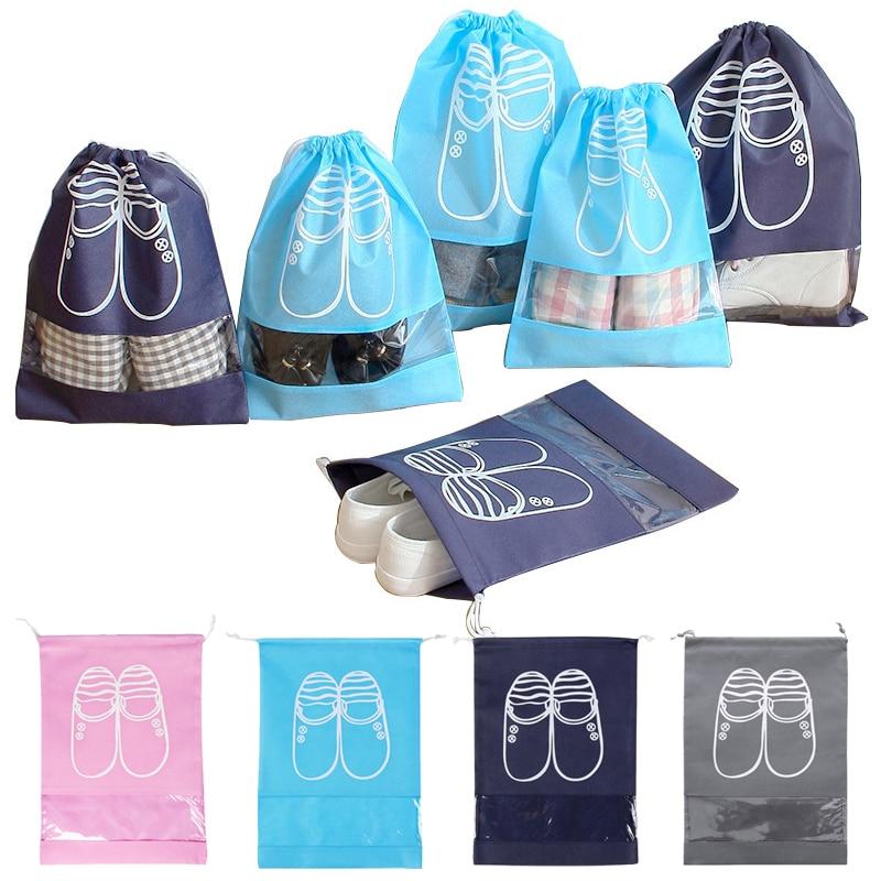 44*32cm/35*28cm New Nonwoven Fabric & PVC Shoes Organization Home/Travelling Drawstring Waterproof Storange Bags