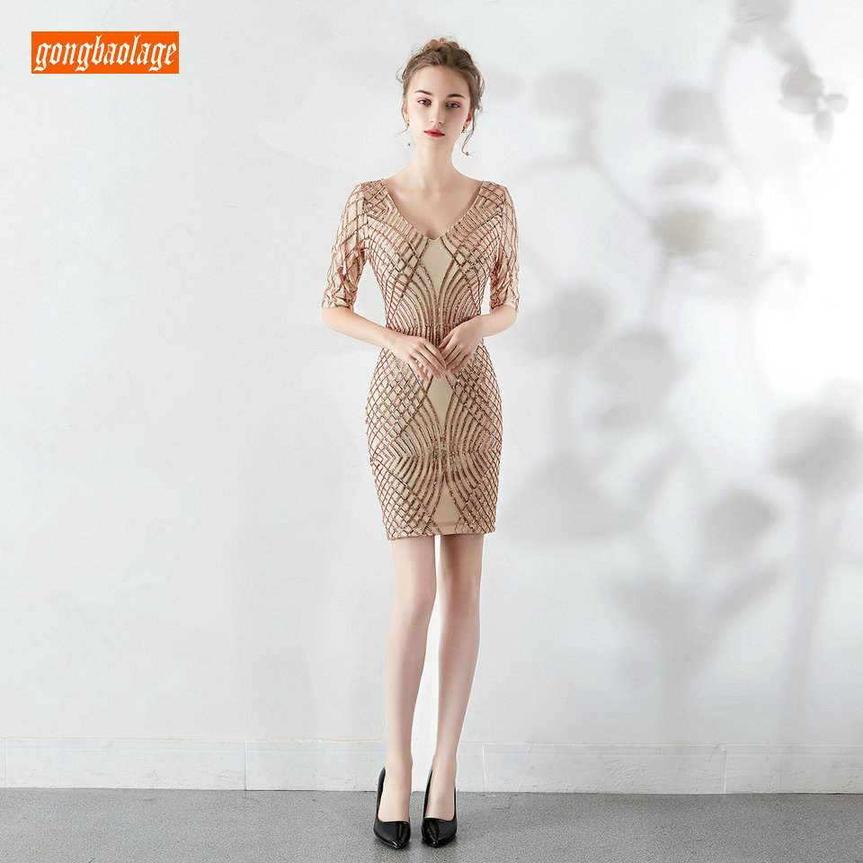 Elegante Champagne Prom Dresses Korte 2019 Bourgondië Partij Formele Kleding Scoop Lovertjes Rits Knielange Banket Cocktail Jurken