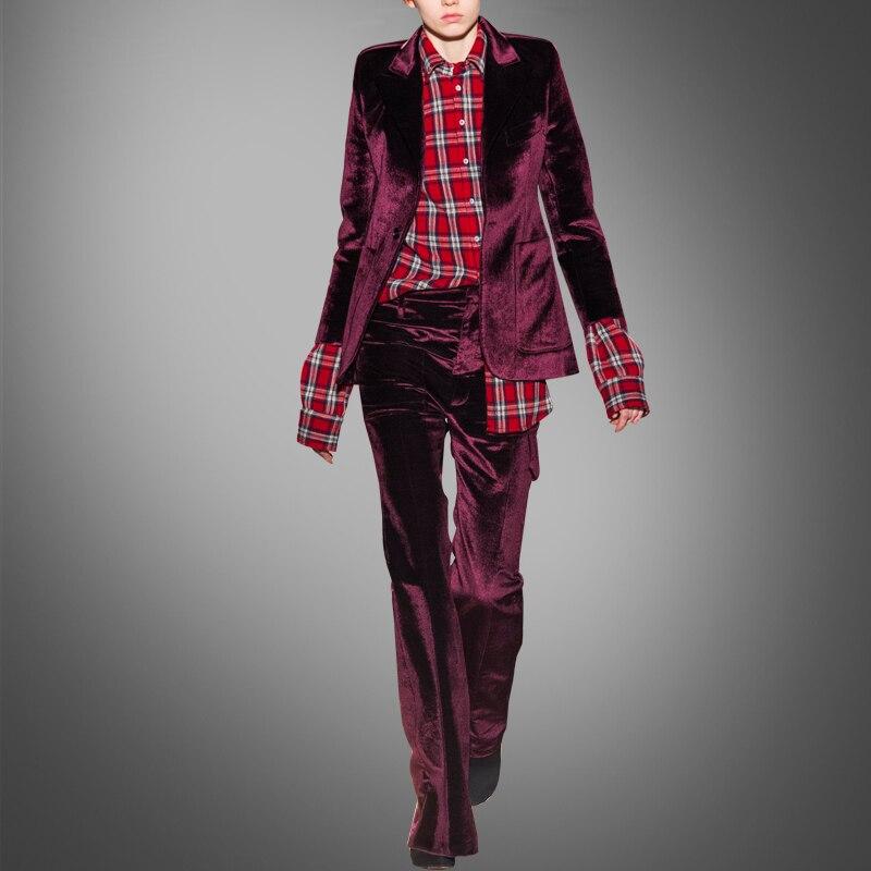 Gamme Veste Longues Printemps De Mode Red Haut Nouvelle À Costume Velours Manches Européen Mince Pq7PC8