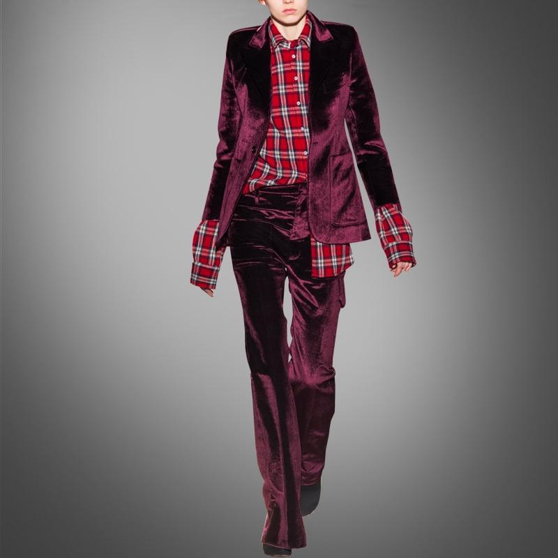 Spring New Fashion Slim Velvet Suit European High-end Long Sleeve Jacket