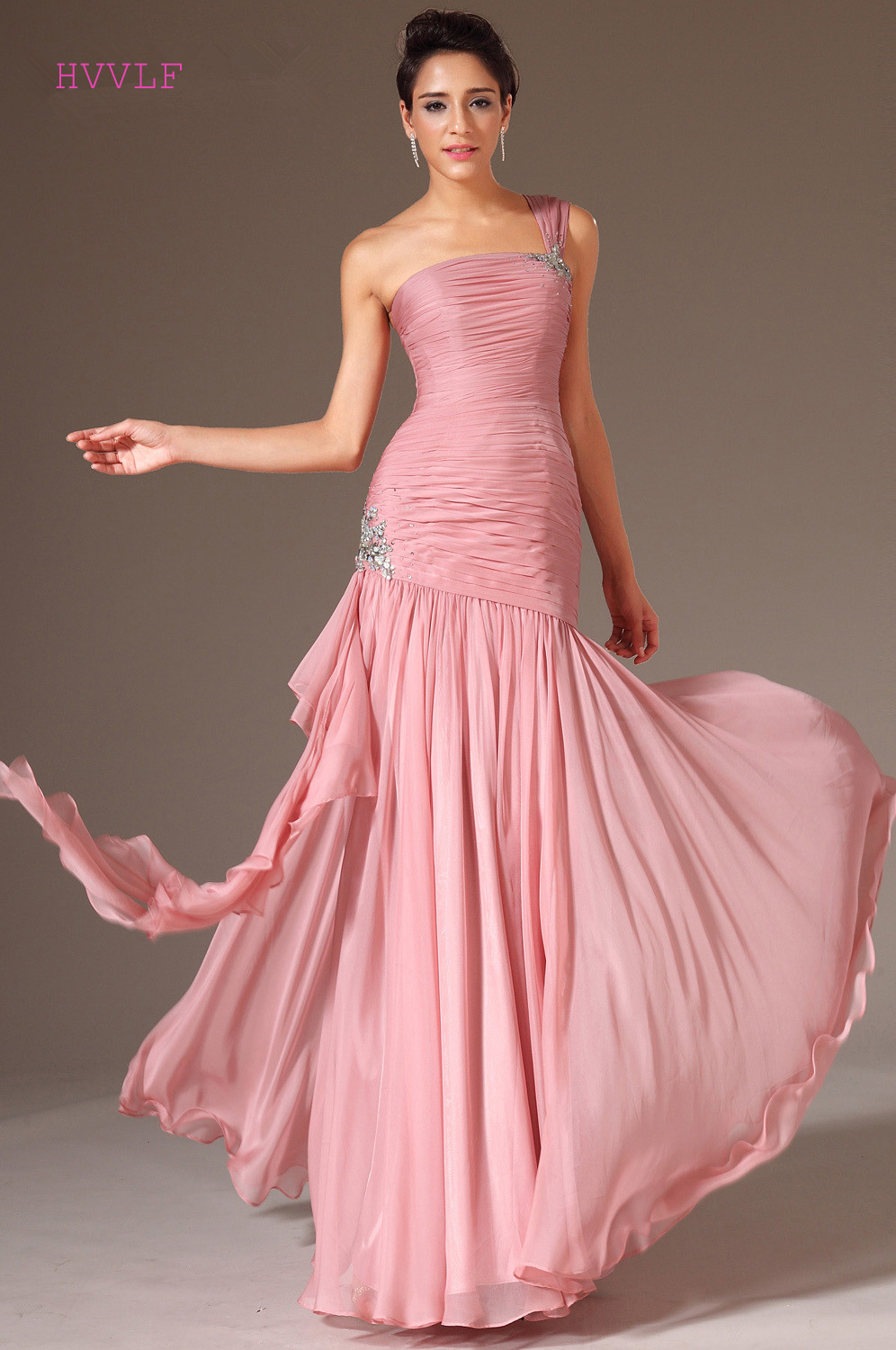Pink Evening Dresses 2018 Mermaid One-shoulder Chiffon Backless ...