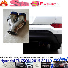 For Hyunda1 Tucson 2015 2016 car cover muffler exterior end pipe dedicate stainless steel exhaust tip tail 1pcs (Blue color)