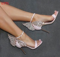 2016 Summer Pink Black Butterfly Wings High Heels Party Shoes Open Toe Ankle Wrap Women Pumps
