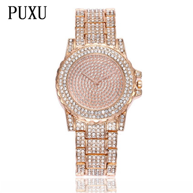 PUXU 2018 Brand New vintage Ladies Luxury Rose Gold Quartz Dress  Wristwatches Women Rhinestone Watches Steel Bling Diamond 3512c53235f5