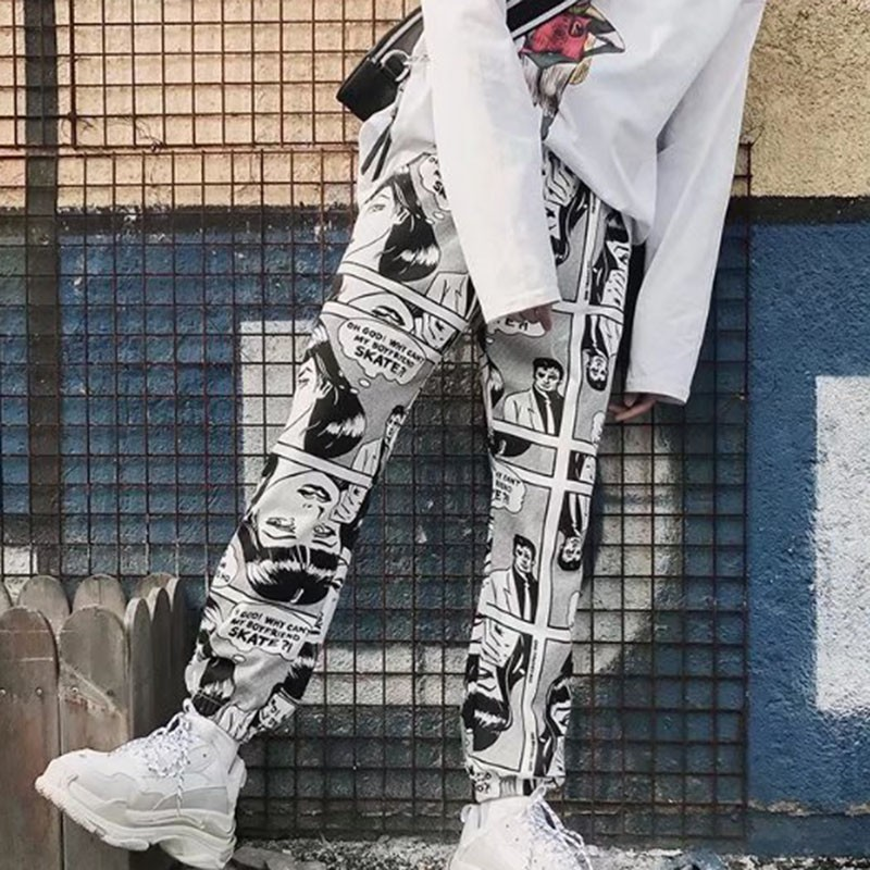 HTB1CfJBbrys3KVjSZFnq6xFzpXaN - Stylish Cartoon Print Drawstring Pants Elastic Waist Hip Hop Long Pants Women Harajuku High Waist Casual Trousers