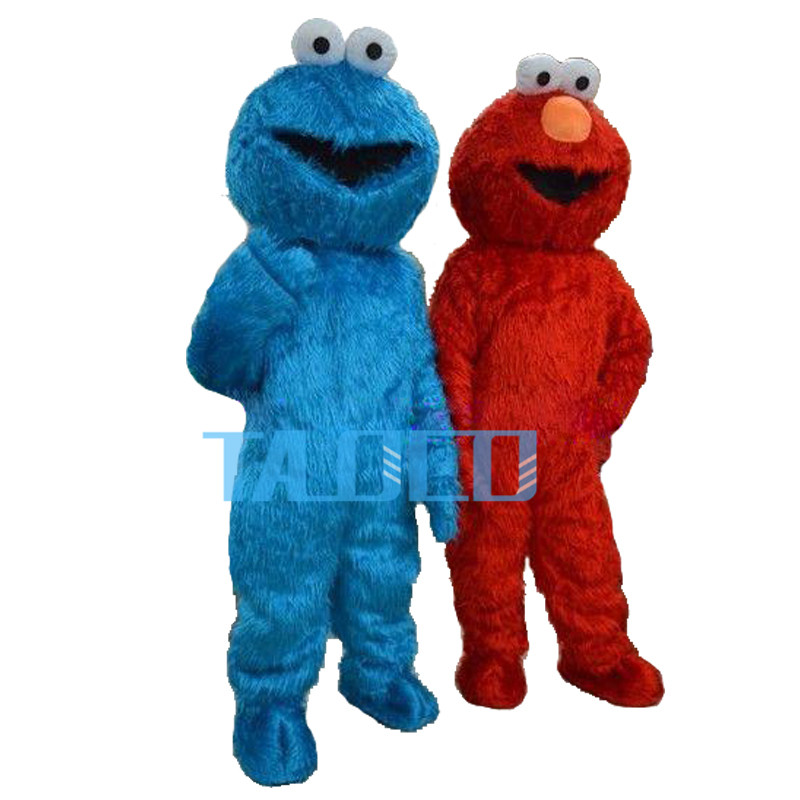 9132d3111b958 Red Elmo Monster BLUE Cookie Mascot costume Cosplay Party Dress for  Halloween purim party event