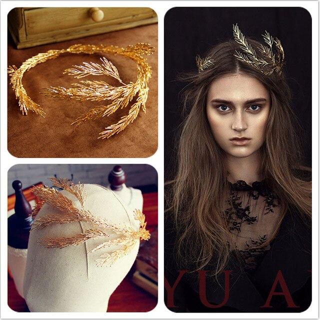 Baroque couronnes feuille d'or bandeau cheveux bijoux de mariage accessoires de cheveux princesse diadème De Mariée À La Main Bandeau Bandeaux