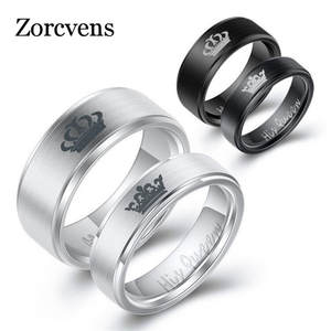 ZORCVENS Fashion Stainless Steel Couple Rings Black Crown Her King His Queen Couple Jewelry Anniversary Valentine's Day Gifts