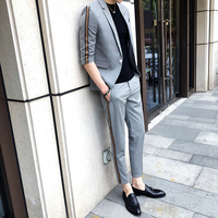 Summer Mens Suits With Pants 2018 Mens Suits Fashions Designs Grey Mens Fitted Suits Slim Fit Tuxedo British Colete Social Club