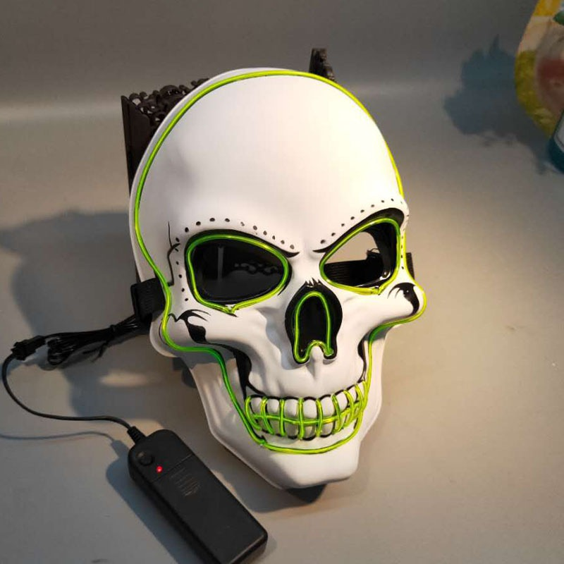 Halloween LED Mask Glowing In Dark Mask Skeleton Mask Full Face Halloween Role Dress Up Cosplay Mask for DJ Party in Party Masks from Home Garden