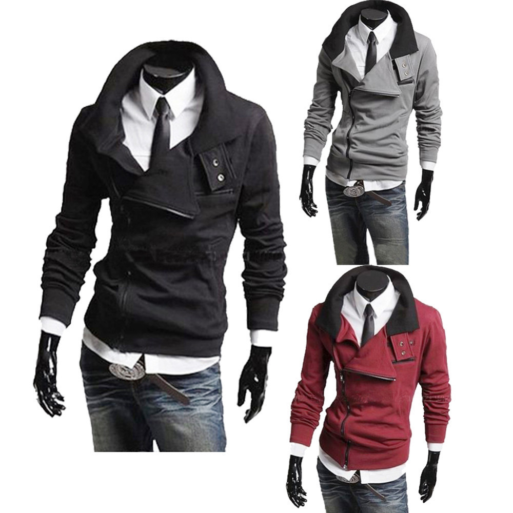 Mens Slim Fit Zip Solid Coats Hoddies Jackets 2018 Fashion 1401 M L XL XXL Sweatshirts Men Coat