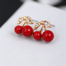 New Fashion Cute Lovely Red Prevent allergy Cherry Earrings Rhinestone Leaf Earrings For Woman Jewelry(China)
