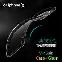 Clear Phone Case Glass For Apple Iphone 8 Case Soft Silicone Transparent Case 360 Body Screen