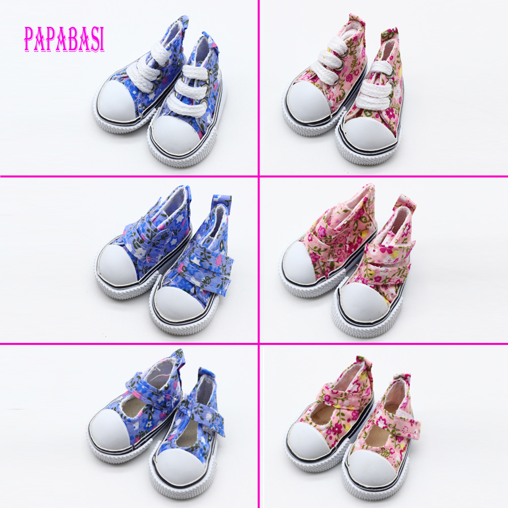Assorted Colors 5cm Printing cowboy blue Pink Mini Doll Sneakers Shoes for 1/6 BJD Accessories assorted colors tagboard 18 x 12 blue canary green orange pink 100 pack
