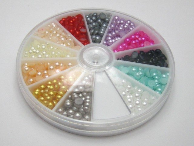 600 Mixed Colour Half Pearl Bead 4mm Flat Back Round Gems with Wheel 12 Colour