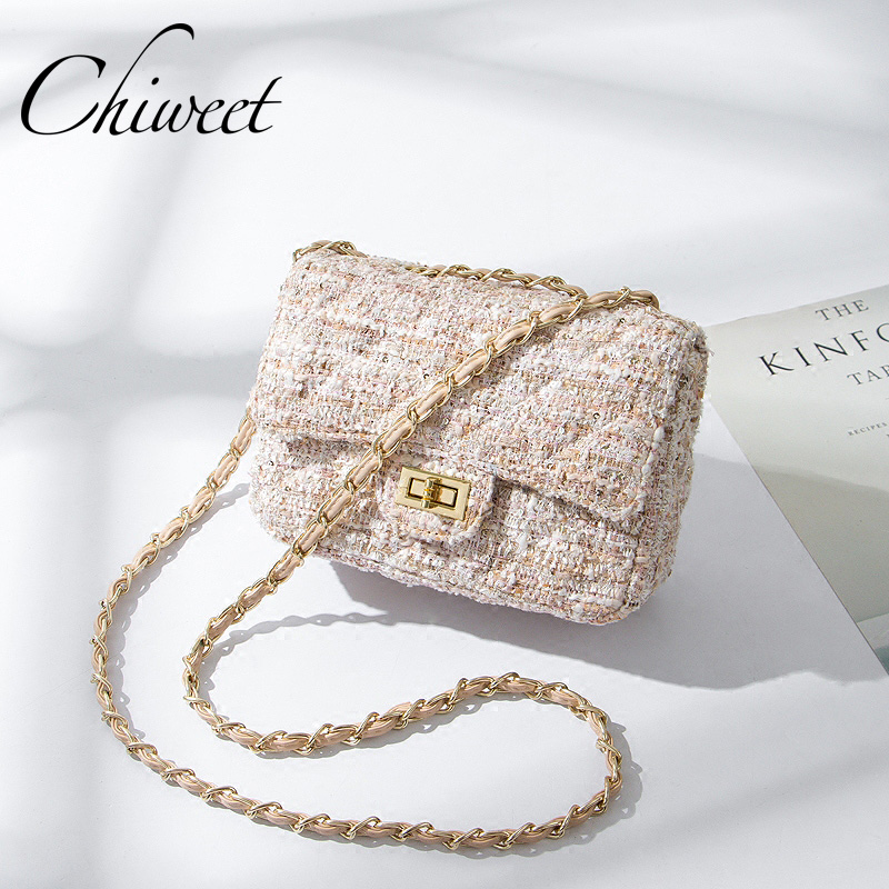 b84d1ba05277 Winter Wool Quilted Women Messenger Bags Luxury Handbags Plaid Houndstooth  Shoulder Bag Famous Brand Ladies Chain Crossbody Bags-in Shoulder Bags from  ...
