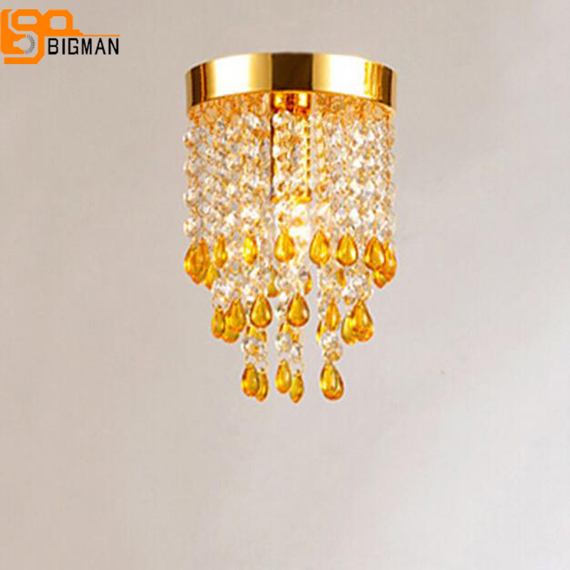 Decorative Ceiling Lights luxury ceiling lamp modern ceiling light Modern Crystal Light Ceiling Lustre bedroom lamp simple style ceiling light wooden porch lamp square ceiling lamp modern single head decorative lamp for balcony corridor study