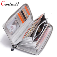 CONTACT S Genuine Leather Women Wallets Lady Purse Female Long Cridet Card Holder Phone Clutch Bag
