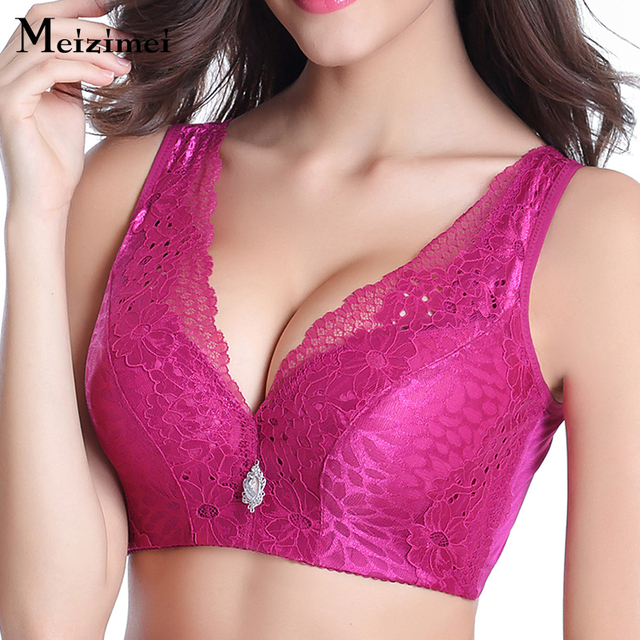 8d035c9121730 Meizimei Lace color full cup floral bra bras for women d wide bra max 95 big  size vest crop top push up bh nightwear underwear