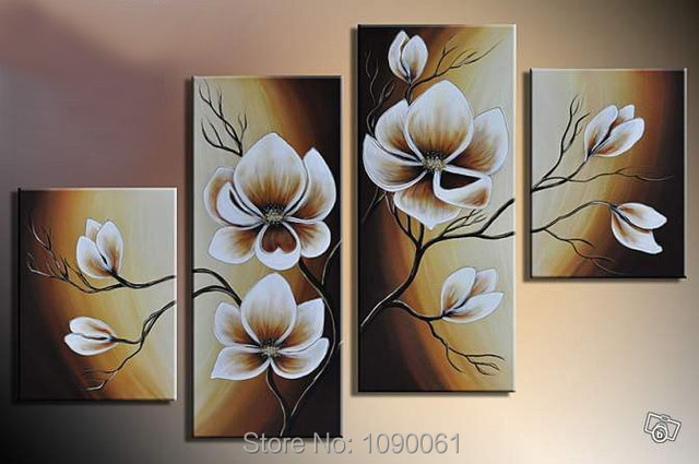 Hand Painted Elegant Brown Flowers Orchid Wall Decor Oil Paintings ...