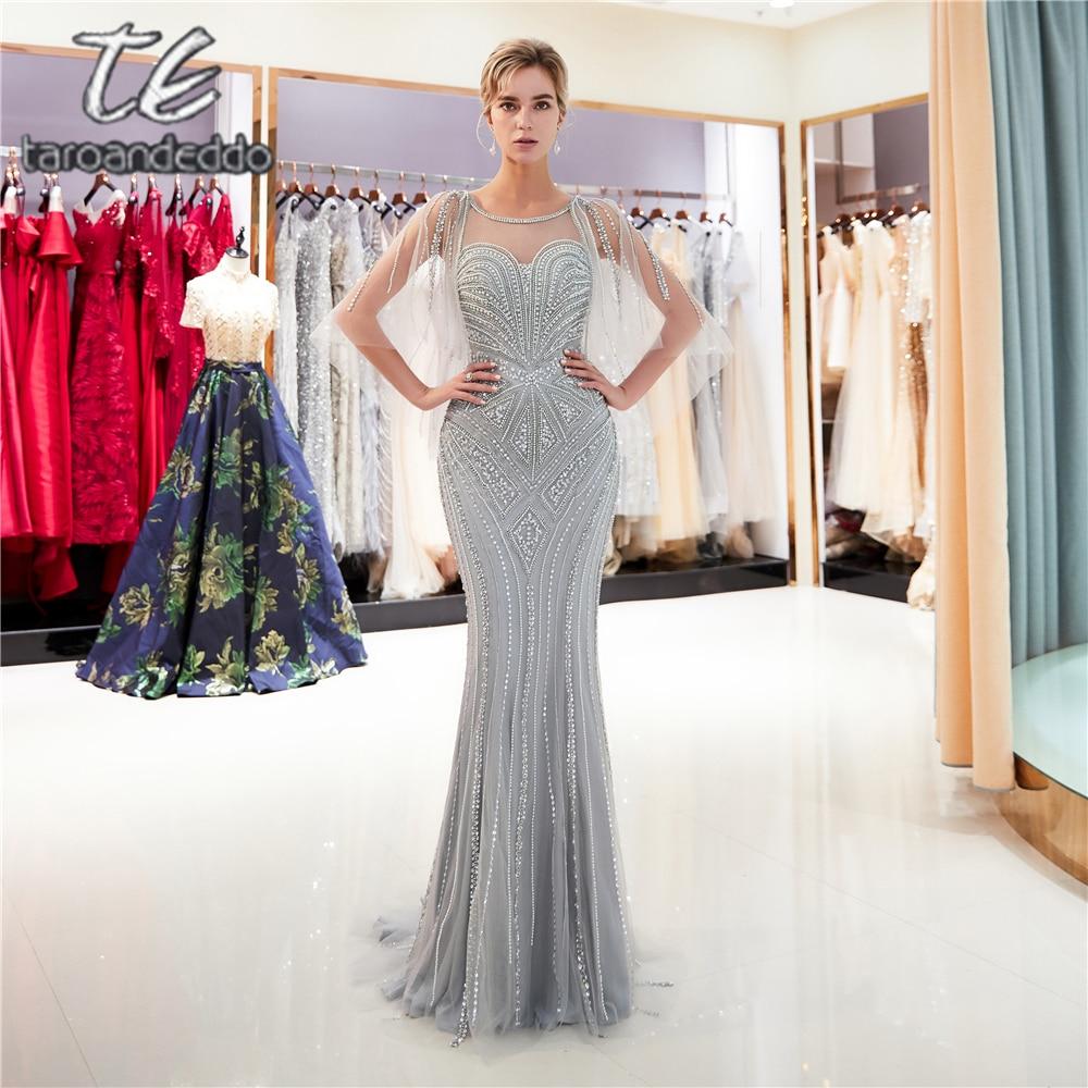 Scoop Mermaid Tulle Prom Dresses Illusion V Back Sweep Train Long Formal Party Dress Vestido De Festa