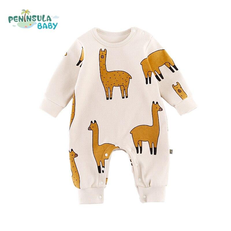Neue Säuglingskleinkind Newborn Baby Mädchen Jungen Strampler Alpaka Printed Long Sleeve Jumpsuit Playsuit Outfits Pyjamas One Piece Kleidung