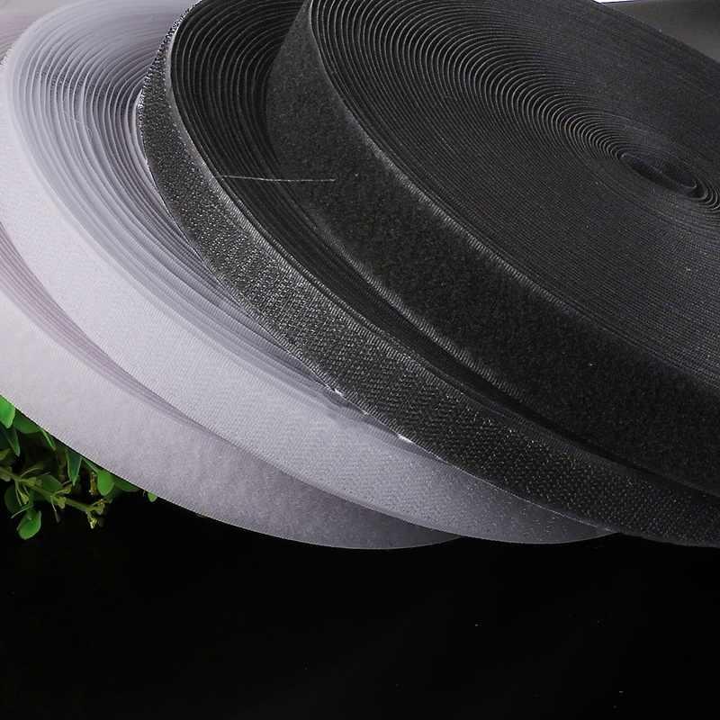 2 M/rulo 16mm-40mm Geniş Siyah Beyaz cırt cırt Bant Sihirli Etiket Bant Üzerine Dikiş DIY konfeksiyon Aksesuarları (Yapıştırıcı)