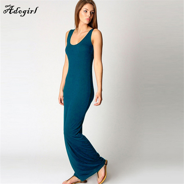 3259c950666 Cotton Maxi Dress Sleeveless Solid Tank Basic Scoop Neck Ankle Length  Casual Long Maxi Summer Beach