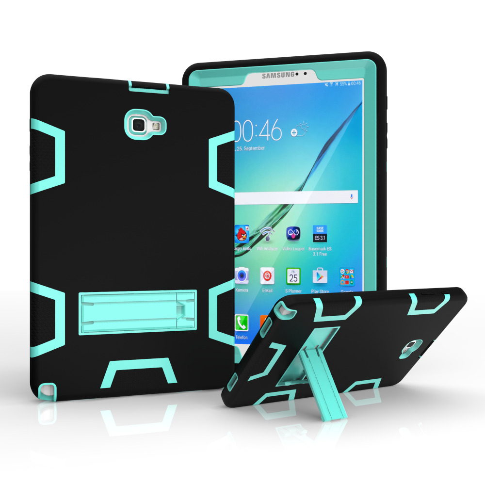 AXBETY For Samsung Galaxy Tab A 10.1 2016 CaseFull Protection Stand Heavy Duty Silicone Hard Cover Case For Samsung P580 P585 dazzle heavy duty impact hybrid armor kickstand hard case for samsung galaxy tab a a6 t580 t580 t585 10 1 with stand function