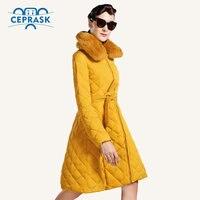 Ceprask 2016 Новая зимняя куртка для женщин; Большие размеры Длинные Для женщин зимнее пальто с кроликом Мех животных высокое качество теплая кур