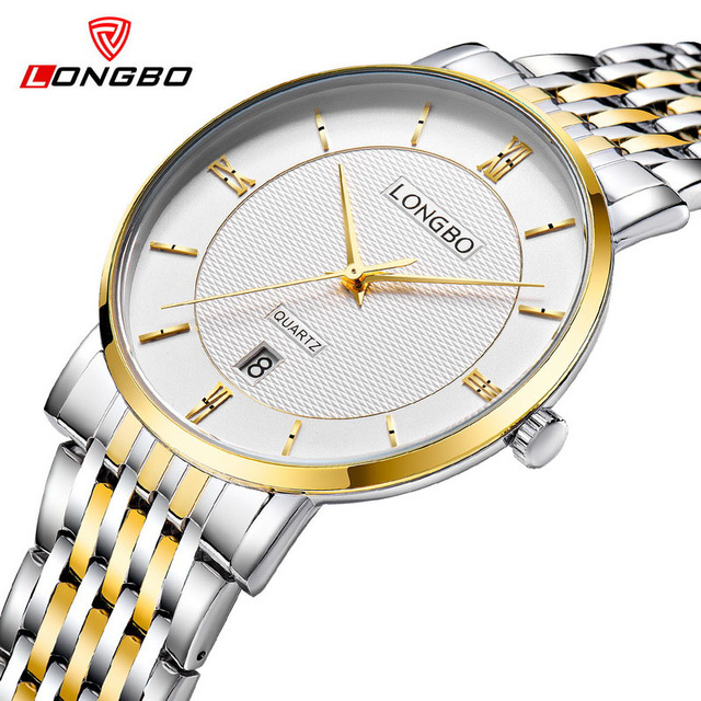 LONGBO 2017 New Men Women Watch Brand Fashion Business Stainless Steel Quartz Watches Date Calendar Analog Couples Wristwatches